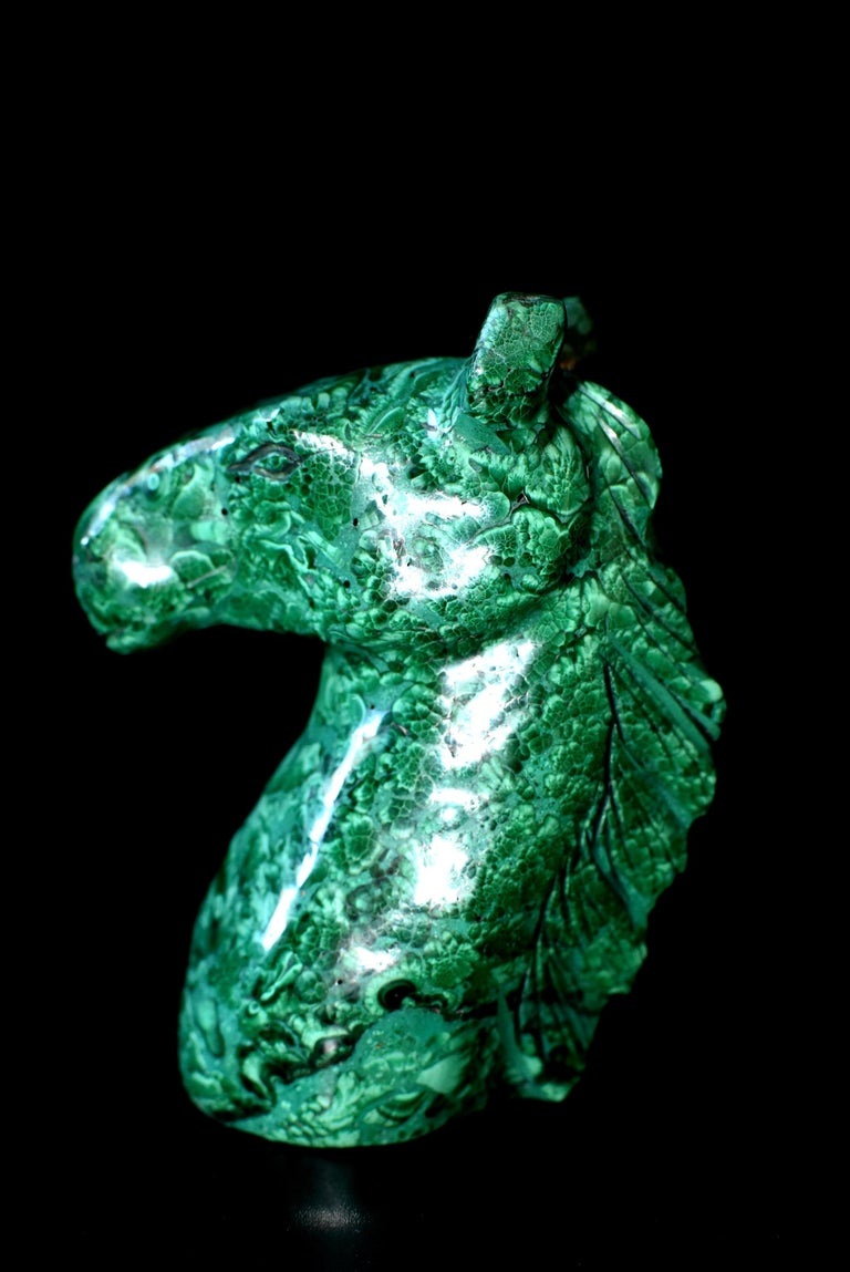 Natural Malachite Horse Sculptures, Pair Bookends Paperweights For Sale 6