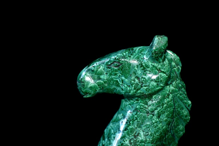 Natural Malachite Horse Sculptures, Pair Bookends Paperweights For Sale 9