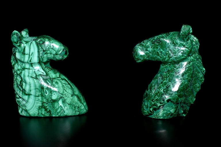 Natural Malachite Horse Sculptures, Pair Bookends Paperweights For Sale 10