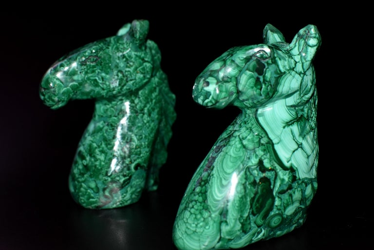 Natural Malachite Horse Sculptures, Pair Bookends Paperweights For Sale 11