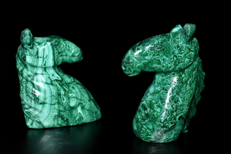 Natural Malachite Horse Sculptures, Pair Bookends Paperweights For Sale 12