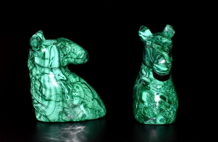 Natural Malachite Horse Sculptures, Pair Bookends Paperweights For Sale 13