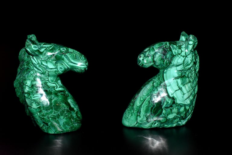 Natural Malachite Horse Sculptures, Pair Bookends Paperweights For Sale 14
