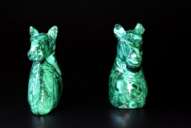 Malagasy Natural Malachite Horse Sculptures, Pair Bookends Paperweights For Sale
