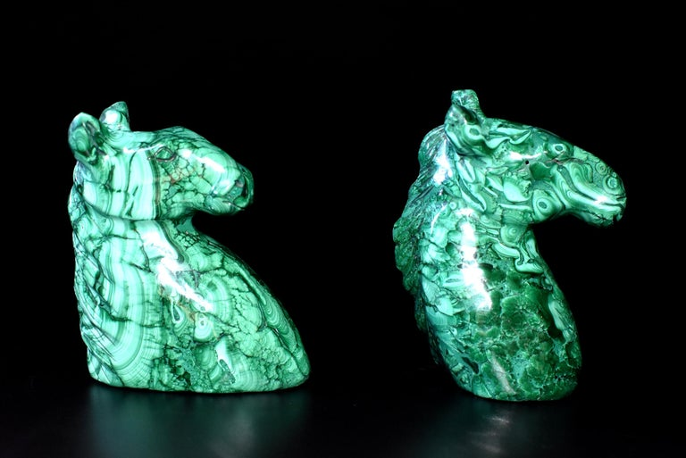 Hand-Crafted Natural Malachite Horse Sculptures, Pair Bookends Paperweights For Sale