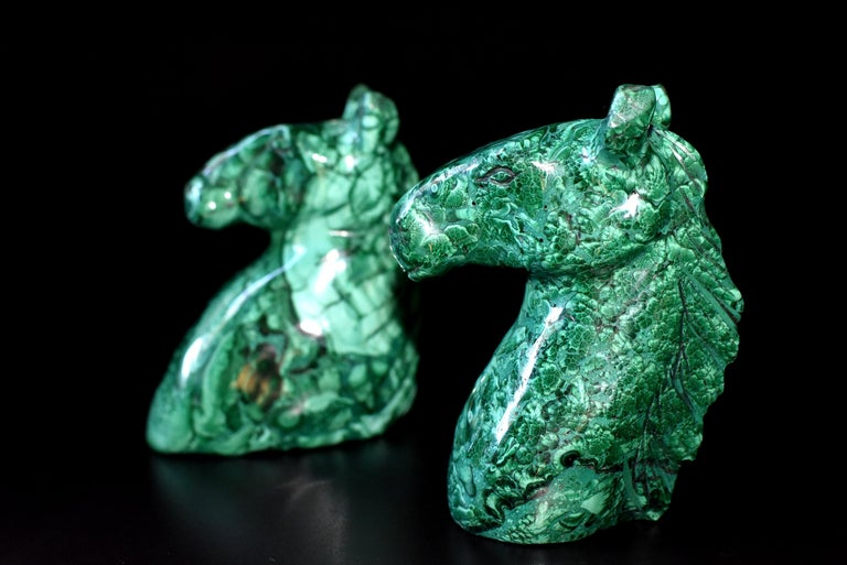 Contemporary Natural Malachite Horse Sculptures, Pair Bookends Paperweights For Sale