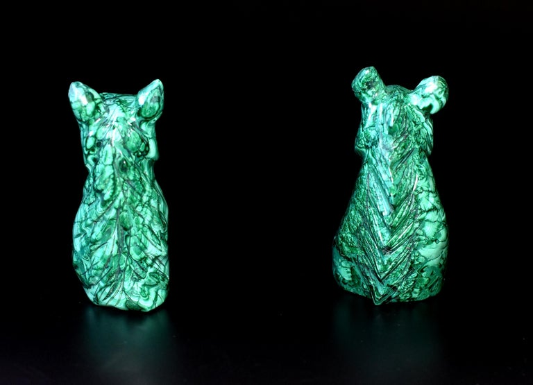 Natural Malachite Horse Sculptures, Pair Bookends Paperweights For Sale 3