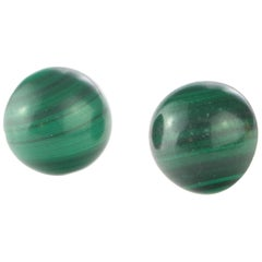 Natural Malachite Round Cabochon 14 Karat Gold Stud Chic Cocktail Earrings