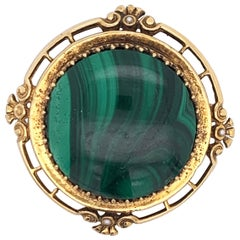 Natural Malachite Stone Brooch Framed in 14 Karat Yellow Gold With Accent Pearls