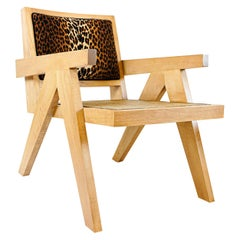 Natural Maple Chair with Rattan Cane Seat and Leopard Print Back