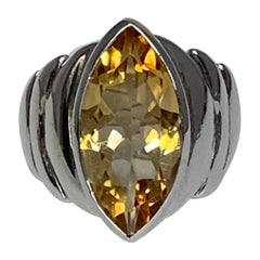 Natural Marquis Citrine Set in Sterling Ring