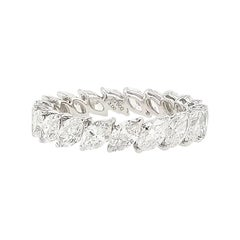 Natural Marquise Shape White Diamonds in Platinum Eternity Band Ring