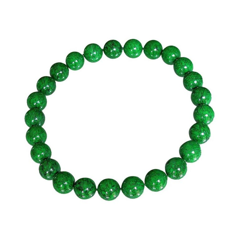 Contemporary Natural Maw-Sit-Sit Jade Bead Statement Necklace For Sale