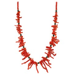 Natural Medditerranean Red Coral Branch and Onyx Beaded Necklace