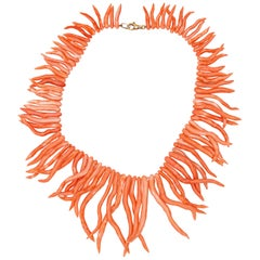 Natural Mediterranean Pink Coral Branches 925 Silver Reaf Handmade Necklace