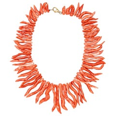 Natural Mediterranean Red Coral Branches 925 Silver Reaf Handmade Necklace