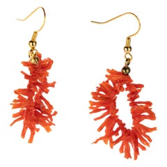 Natural Mediterranean Red Coral Branches Hypoallergenic Metal Handmade Earrings