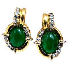 Natural Mint Green Quartz Diamond Clip Earrings Contemporary Deco 18 Karat