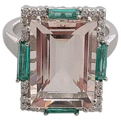 Natural Morganite and Emerald Ring Set in 18 Karat Gold with Diamonds