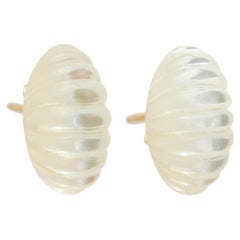 Natural Mother of Pearl Carved 18 Karat Gold Handmade Stud Handmade Earrings