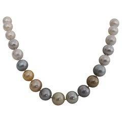 Natural Multi-Color South Sea Pearls with High Luster and Orient, Round Shape