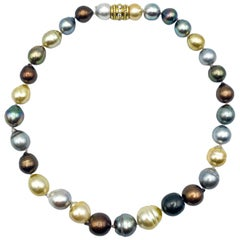 Natural Multi-Color Tahitian Pearl Necklace