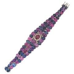 Natural Multi Sapphire Bracelet Set in 18 Karat Gold with Diamonds