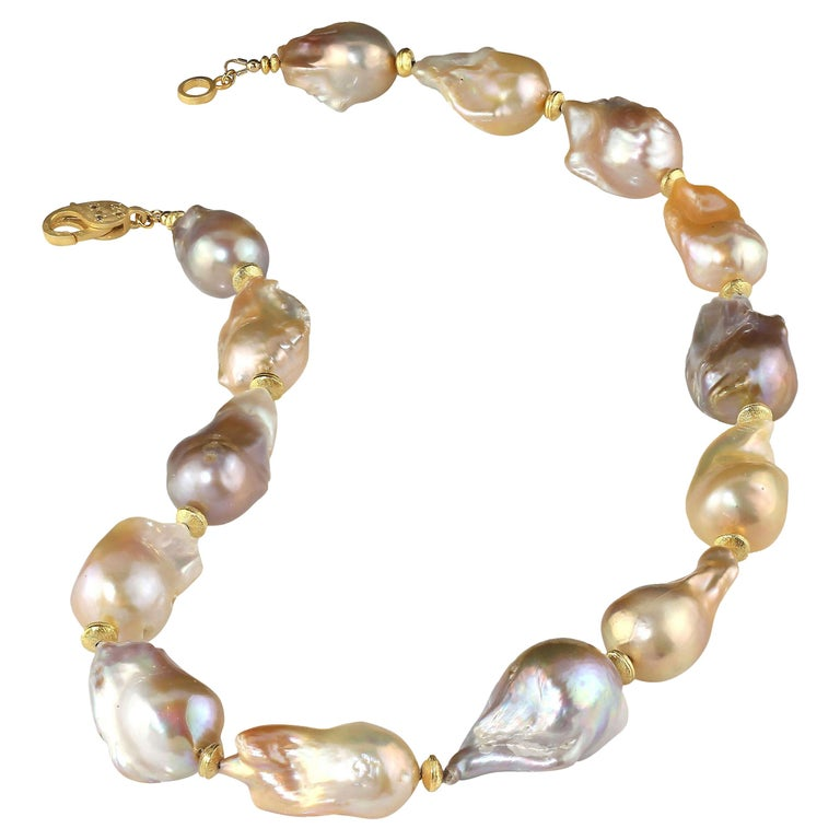 Gemjunky Natural Multi tone Luscious, Lustrous Baroque Pearl Necklace For Sale
