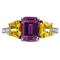 Natural Multicolored Gemstone Diamond Ring