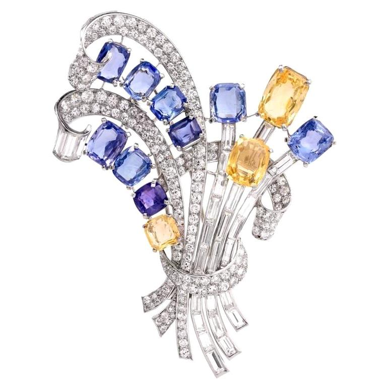 Natural No Heat Blue and Yellow Sapphire Platinum Floral Bouquet Lapel Brooch For Sale