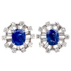 Natural No Heat Blue Ceylon Sapphire Diamond Starburst Platinum Earrings