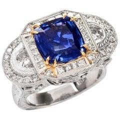 Natural No Heat Blue GIA Sapphire Diamond White Cocktail Ring