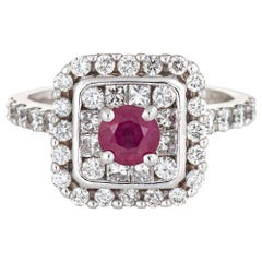 Natural No Heat Burma Ruby Diamond Ring Estate 14 Karat Gold Square Cocktail