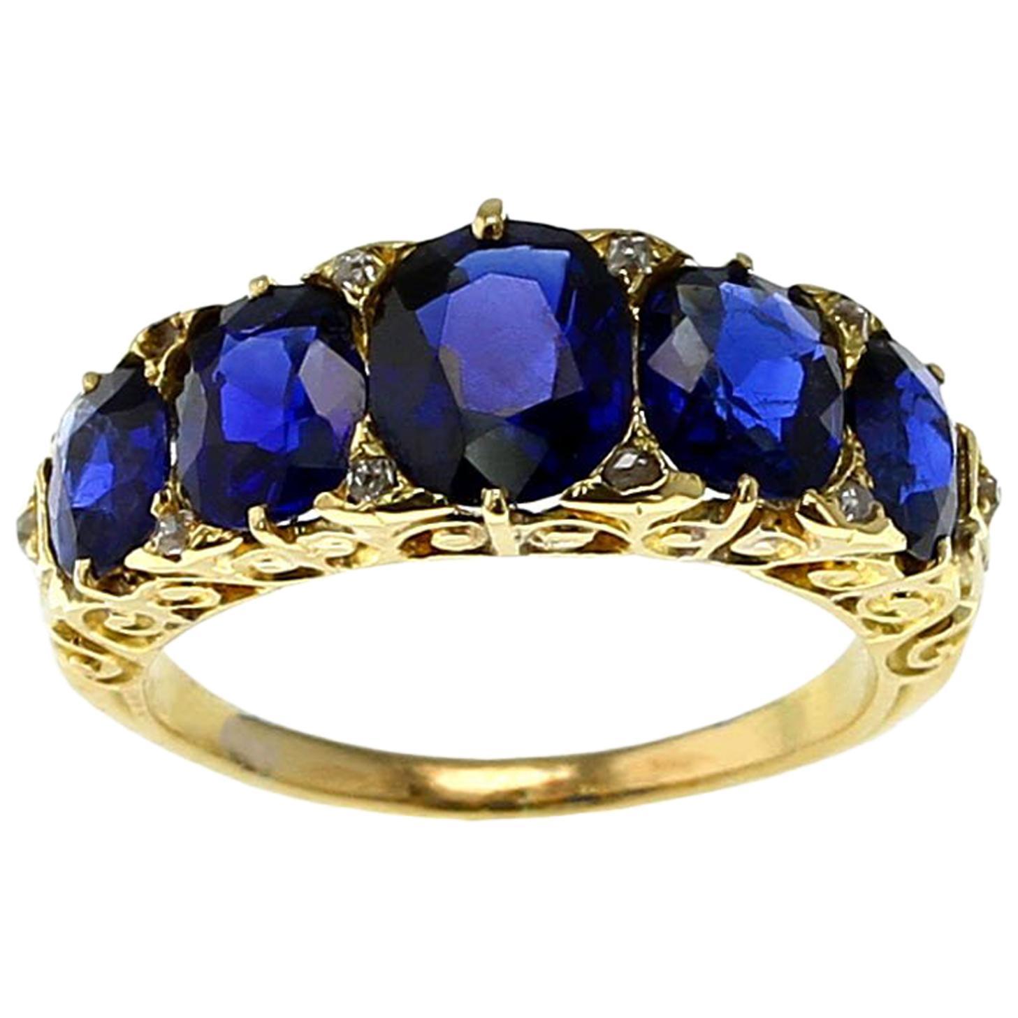 Natural No Heat Burma Sapphire Five-Stone Victorian Gold Ring