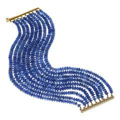 Natural No Heat Burmese Sapphire Bead and Diamond Yellow Gold Bracelet