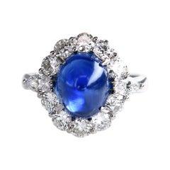 Natural No Heat Ceylon 6.35 Carat Blue Sapphire and Diamond Ring