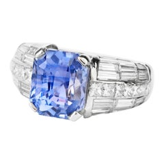 Natural No Heat GIA Violet Sapphire Diamond Platinum Engagement Cocktail Ring