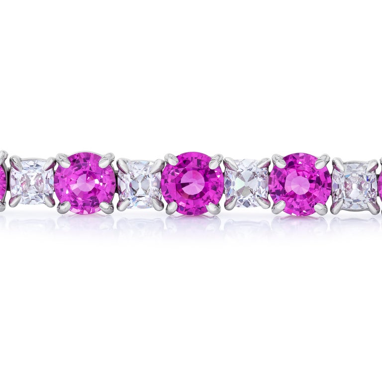 Contemporary Natural No Heat Pink Sapphire and Antique Cushion Diamond Platinum Bracelet GIA  For Sale