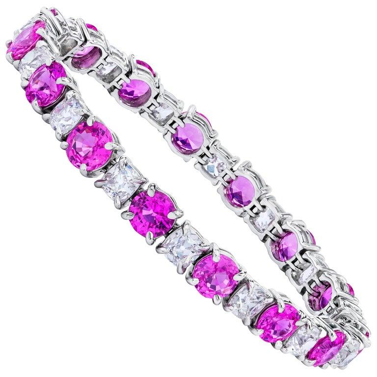 Natural No Heat Pink Sapphire and Antique Cushion Diamond Platinum Bracelet GIA  For Sale