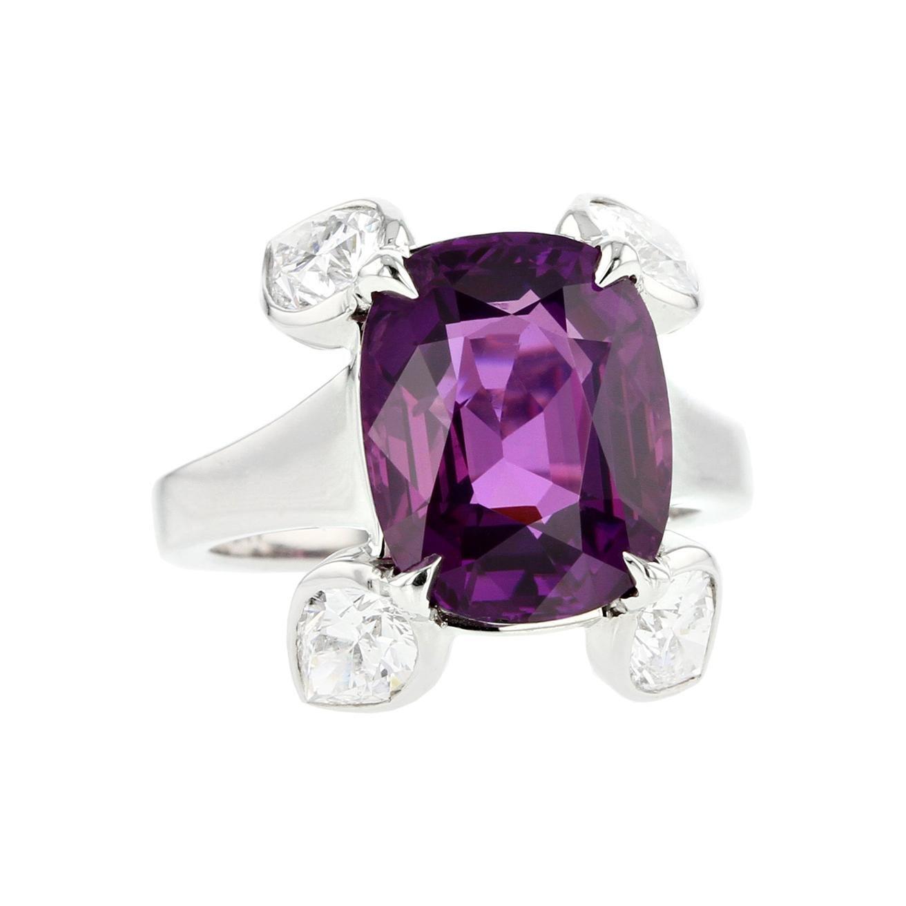 Natural No Heat Purple Sapphire Diamond Ring