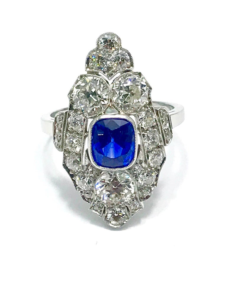 Cushion Cut Natural No Heat Sapphire and Diamond Art Deco Platinum Ring For Sale