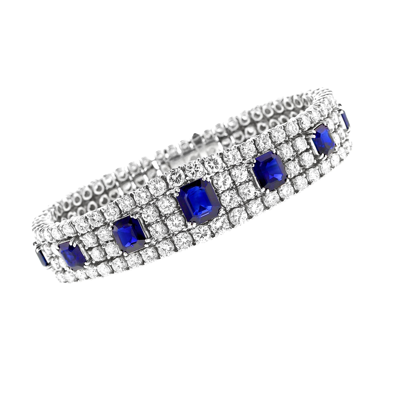 Natural No Heat Sapphire and Diamond Platinum Bracelet, Italy