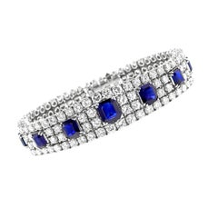 Natural No Heat Sapphire and Diamond Platinum Bracelet, Italy