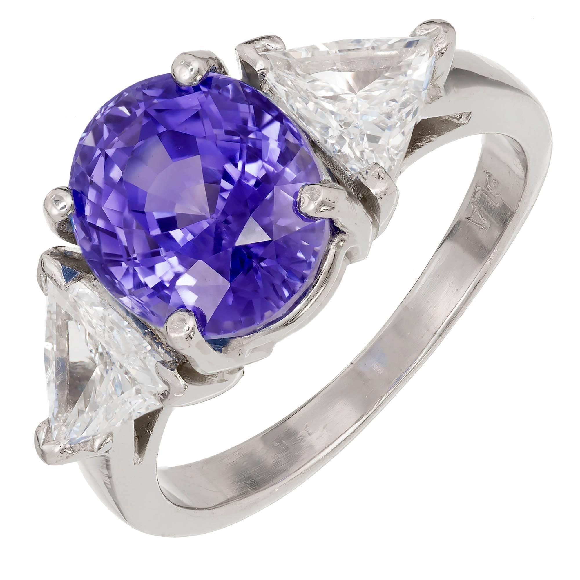 AGL Certified 5.17 Carat Natural Sapphire Diamond Platinum Engagement Ring