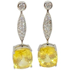 Natural No Heat Yellow Sapphire Oval Dangle Drop Diamond Earrings 18KW 16.60CTW