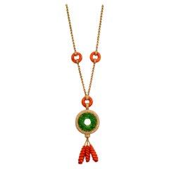 Natural No Treatment A Jadeite Coral Gold Diamond Pendant Necklace