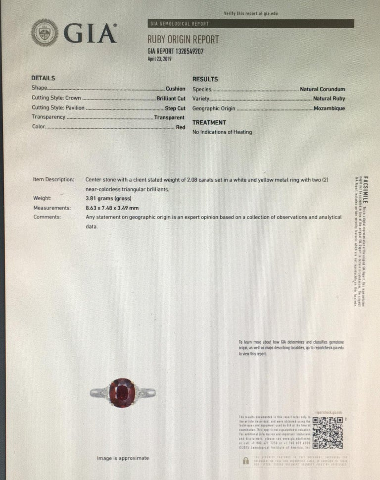 2.08 Carat Vivid Red Ruby GIA Certified Unheated Diamond Ring Cushion Cut  In New Condition In Hong Kong, Hong Kong