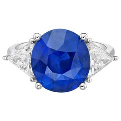 7.05 Carat GRS Ceritified Non Heated Oval Sapphire and Certified Diamond Ring