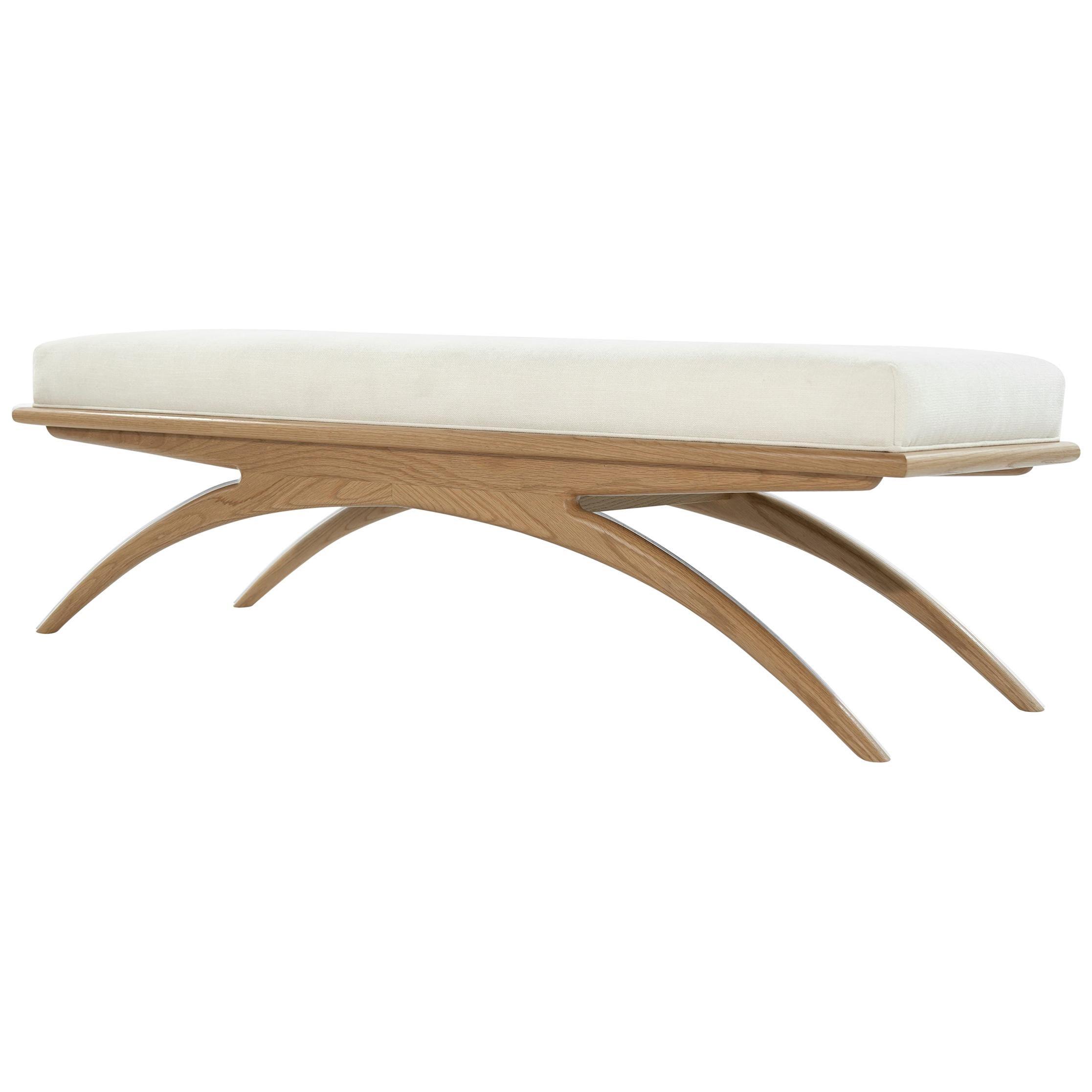 Natural Oak Convex Bench by Stamford Modern