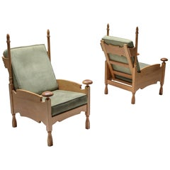 Natural Oak Throne Lounge Chairs